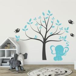 Комплект Дърво със слонче и птички