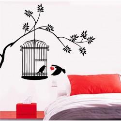 """Двуцветен стикер""""Клетка с птици"""""""