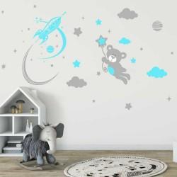 """Двуцветен комплект""""Мече,ракета пухкави облаци и звезди"""""""