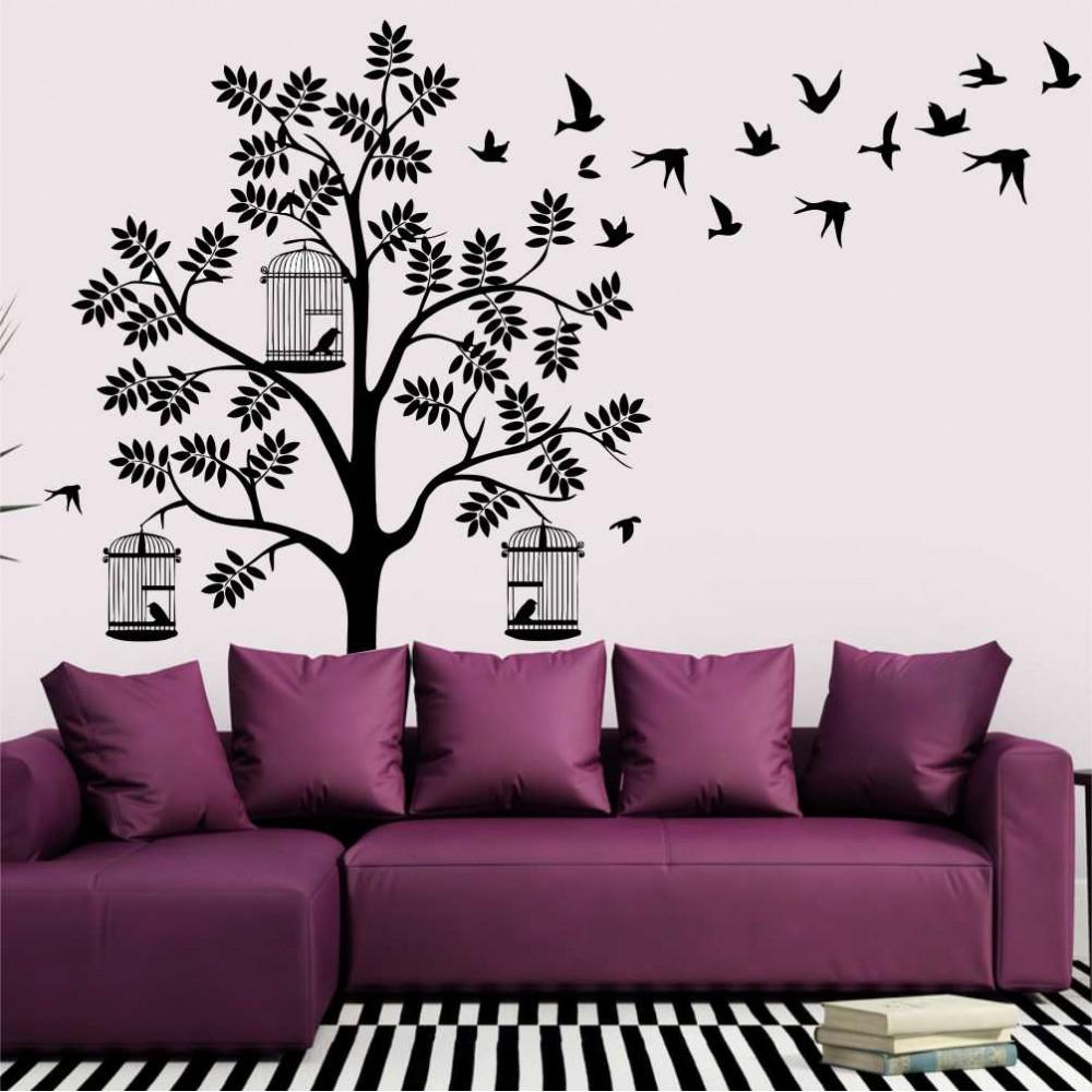 """Стикер""""Дърво с птици"""""""