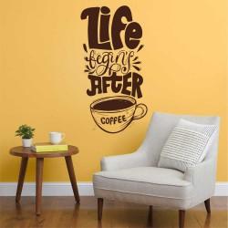 "Стикер""Life begins after coffee"""