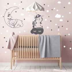 Комплект Спящо мече на луна+еднорог върху пухкаво облаче