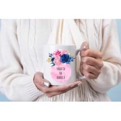 Персонална чаша  със стръкче цветя