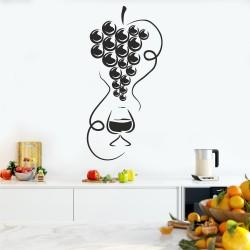 Стикер Грозде с чаша вино
